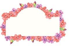 Bloemkader met roze en purpere bloem en groene bladeren De illustratie van de handtekening stock foto