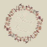 Bloemkader, naadloze textuur met bloemen Gebruik als groetkaart Stock Afbeeldingen