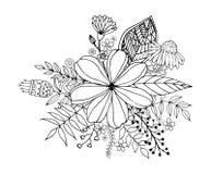 Bloemkrabbel die pagina uit de vrije hand, Kleurende met krabbel trekken Royalty-vrije Stock Fotografie