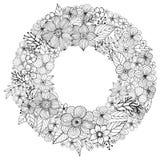 Bloemkrabbel die pagina uit de vrije hand, Kleurende met krabbelbloemen trekken Stock Foto's