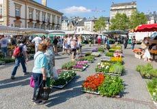 Bloemmarkt met winkelende mensen in de Stad van Luxemburg stock foto's