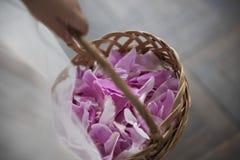 Bloemmeisjes die Rose Petals During Wedding Ceremony werpen Stock Fotografie