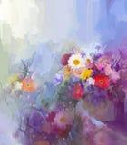 Bloemolieverfschilderij Flora Vintage-kleurenachtergrond Stock Afbeeldingen