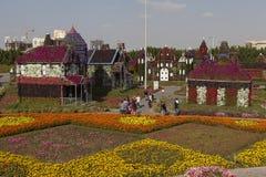 Bloempark in Doubai (het Mirakeltuin van Doubai) Verenigde Arabische emiraten Royalty-vrije Stock Foto's