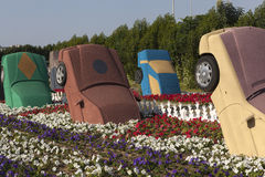 Bloempark in Doubai (het Mirakeltuin van Doubai) Verenigde Arabische emiraten Stock Afbeelding