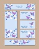 Bloempatronen van verschillende grootte met vlinders, madeliefjes en korenbloemen Voor romantisch en Pasen-ontwerp, aankondiginge royalty-vrije illustratie