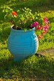 Bloempot bij kleine mediterrane tuin Royalty-vrije Stock Foto's