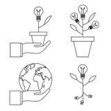 Bloempotlamp Handen met geplaatste bolpictogrammen, Vlakke Lijn Vectorillustratie stock illustratie