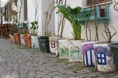 Bloempotten met art. stock afbeeldingen