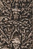 Bloemrijk Bas Relief Detail in Angkor Wat, Siem oogst, Kambodja, Indochina, Azië stock foto