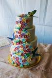 Bloemrijke huwelijkscake met vlinders Royalty-vrije Stock Afbeeldingen