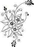 bloemsilhouet in zwarte mehendilijnen Royalty-vrije Stock Foto's