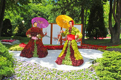 Bloemtentoonstelling ` Japan door de ogen van de Oekraïne ` in Spivoche Pool in Kyiv, de Oekraïne royalty-vrije stock foto's