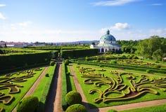 Bloemtuinen in Kromeriz, Tsjechische Republiek Royalty-vrije Stock Foto