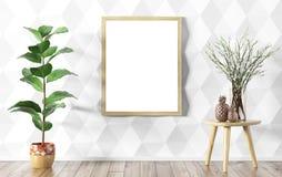 Bloemvaas over wit die muur en spot op affichebinnenland met panelen bekleden stock illustratie