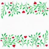 Bloemwaterverf Kaart met de bladeren van de waterkleur Door St Valentine Stock Afbeelding