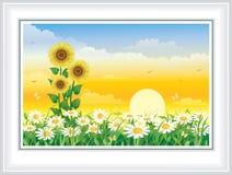 Bloemweide met madeliefjes en zonnebloemen bij dageraad stock illustratie