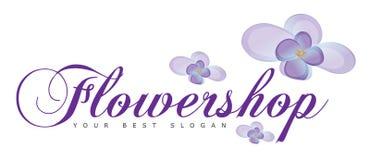 Bloemwinkel of Bloemen Logo Concept Stock Foto