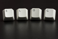 Blogów Biali Klawiaturowi klucze na czerni Fotografia Stock