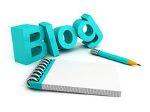 Blog иÐ'Ð ³ у-Wortbuchstaben mit Bleistift und Anmerkungsbuch Lizenzfreies Stockbild