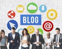 Blog σε απευθείας σύνδεση έννοια ιστοχώρου Blogging ικανοποιημένη στοκ φωτογραφία με δικαίωμα ελεύθερης χρήσης