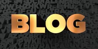 Blog - χρυσό κείμενο στο μαύρο υπόβαθρο - τρισδιάστατο δικαίωμα ελεύθερη εικόνα αποθεμάτων Στοκ φωτογραφία με δικαίωμα ελεύθερης χρήσης