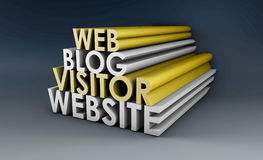 Blog. Website with Web Visitor in 3d Stock Image