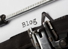 Blog. The word blog written with old typewriter, tilted view Royalty Free Stock Image