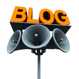 Blog. Ging with loudspeakers on a pole and text saying  on top platform, announce your  to your audience Stock Image