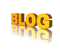 Blog. Golden Blog text on white background - 3d illustration Royalty Free Stock Images
