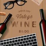 Blog au sujet de vin, amateurs de vin, goûtant Photo libre de droits