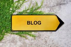 Blog auf dem gelben Zeichen, das an der Efeuwand hängt Lizenzfreie Stockfotos