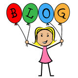 Blog Balloons Indicates Young Woman And Kids Stock Photo