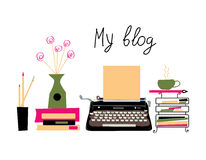 Blog banner with typing machine and books Royalty Free Stock Photography