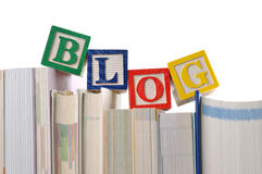 Blog. Blocks spelling the words blog on books Stock Image