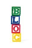 Blog - blocs de bébé d'alphabet sur le blanc Images stock