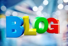 Blog. Symbol multi colored single word three-dimensional shape internet web page Royalty Free Stock Images