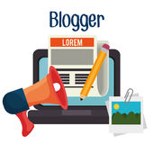 Blog and blogger social media design Stock Images
