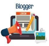 Blog and blogger social media design Stock Images