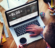 Blog-Blogging homepage-Social Media-Netz-Konzept Stockfotografie
