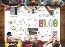 Blog-Blogging Vernetzungs-Digital-Verbindungs-Konzept Stockbild