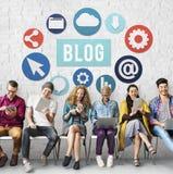 Blog-Blogging zufriedene Website-on-line-Konzept Stockfotos