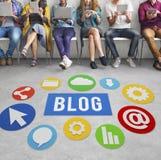 Blog-Blogging zufriedene Website-on-line-Konzept Lizenzfreie Stockfotos