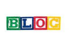 Blog - bloques del bebé del alfabeto en blanco Fotografía de archivo