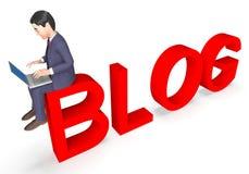 Blog Businessman Means World Wide Web And Entrepreneur 3d Rendering. Businessman Blog Indicating World Wide Web And Website 3d Rendering Royalty Free Stock Photo