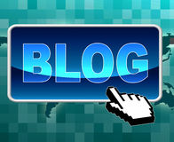 Blog Button Means World Wide Web And Blogging Stock Photos