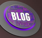 Blog Button Shows Pushbutton Switch And Websites. Blog Button Representing Web Site And Weblog Stock Photo