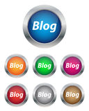 Blog buttons. Collection of blog buttons in various colors Stock Image