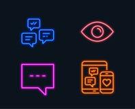 Blog-, Chatmitteilungen und Augenikonen Baumuster 3D auf Weiß Plaudern Sie Mitteilung, Kommunikation, Ansicht oder Vision Stockbild