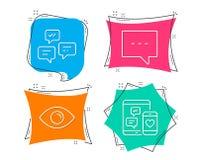 Blog-, Chatmitteilungen und Augenikonen Baumuster 3D auf Weiß Plaudern Sie Mitteilung, Kommunikation, Ansicht oder Vision stock abbildung